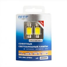 Лампа MTF Light 12V C5W/SV8.5/36mm, 3W 270 люмен, 4500K COB LED 2шт